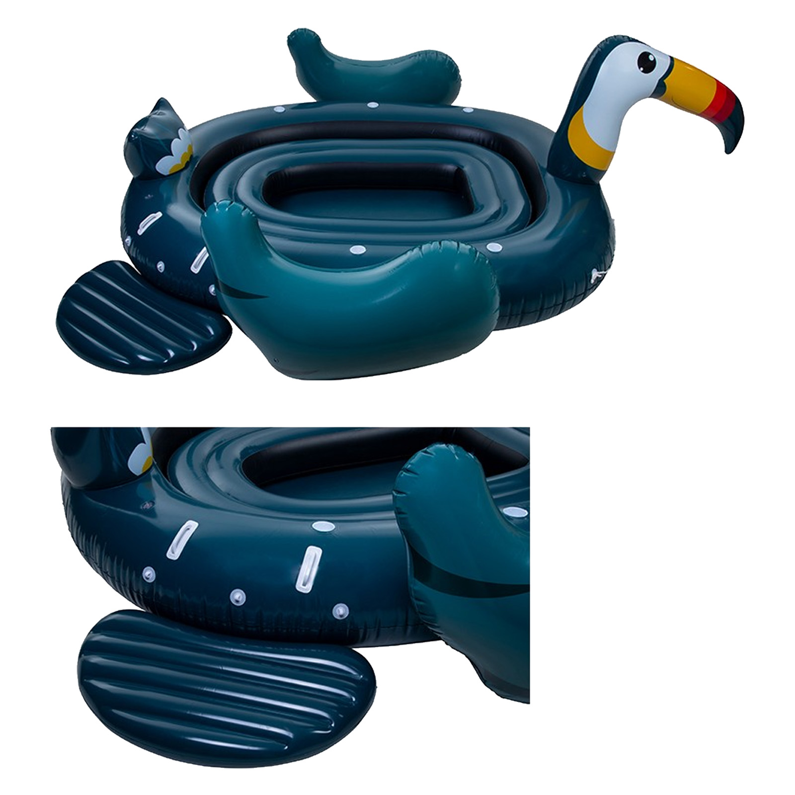 Indexbild 13 - Pure4Fun 6 Person Giant Inflatable Party Blow Up Dinghy Boat Pool Beach Lilo