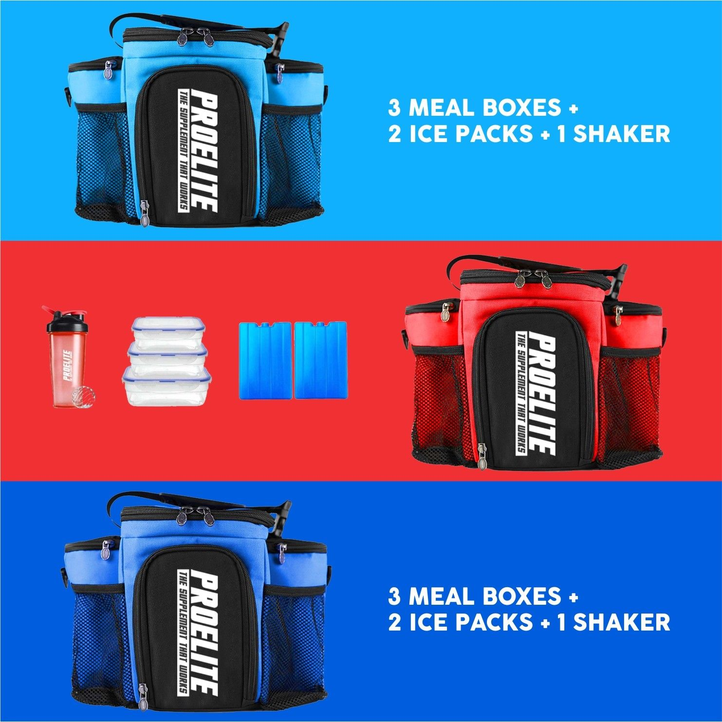 e66eefd07104 3 Meal Bag Food Prep Management Insulated Fitness Gym Cooler Lunch Box Food  Bag. Product Details. The Pro Elite 3 Meal System ...