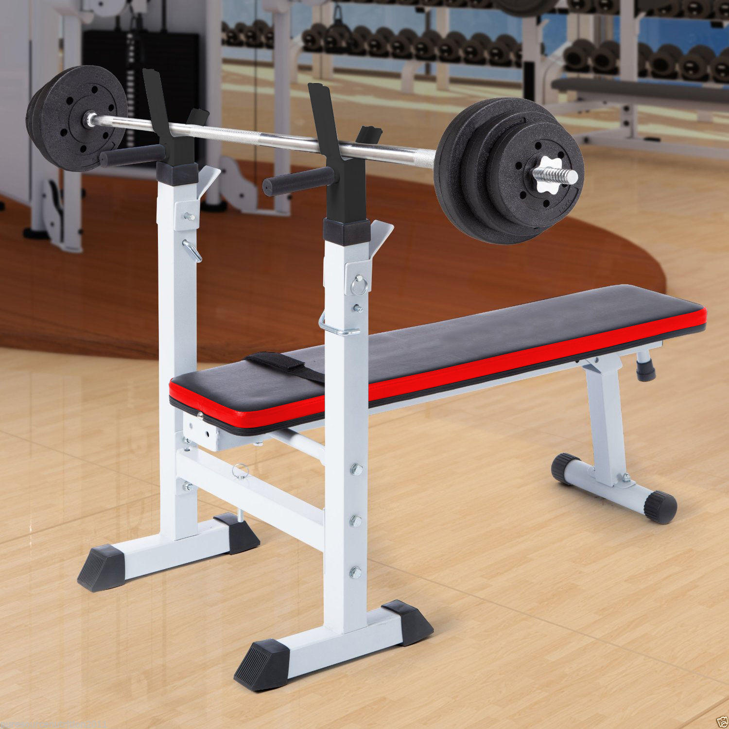 Barbell Set Adjustable Weight Bench With Power Rack