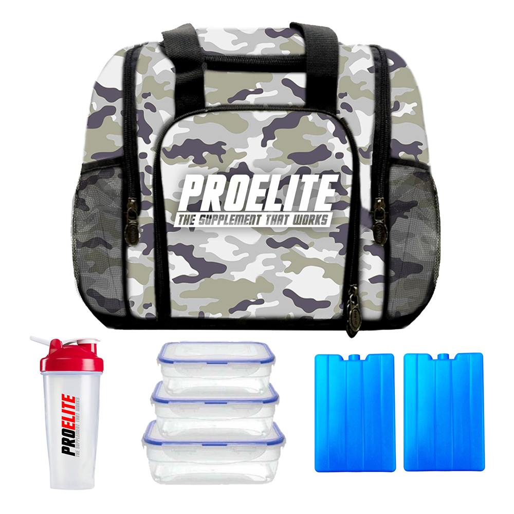 Pro Elite Mini 3 Meal Bag Food Prep Containers Management Green//White Camo ISO
