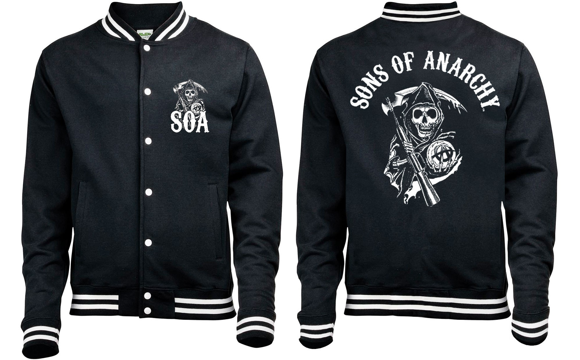 sons of anarchy 39 classic 39 baseball style varsity jacket. Black Bedroom Furniture Sets. Home Design Ideas