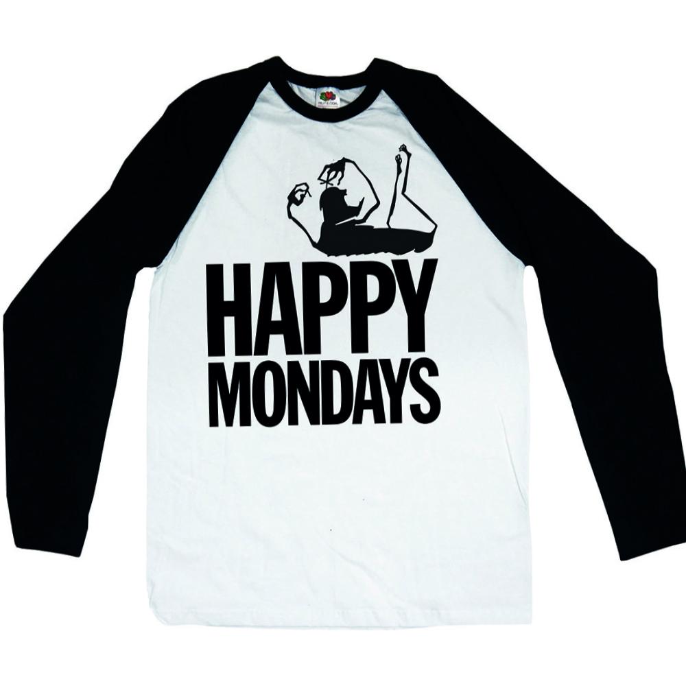 Happy Mondays /'Logo/' Long Sleeve Baseball Shirt NEW /& OFFICIAL!