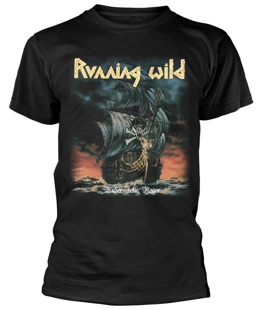 Running Wild Under Jolly Roger Album T-Shirt Black