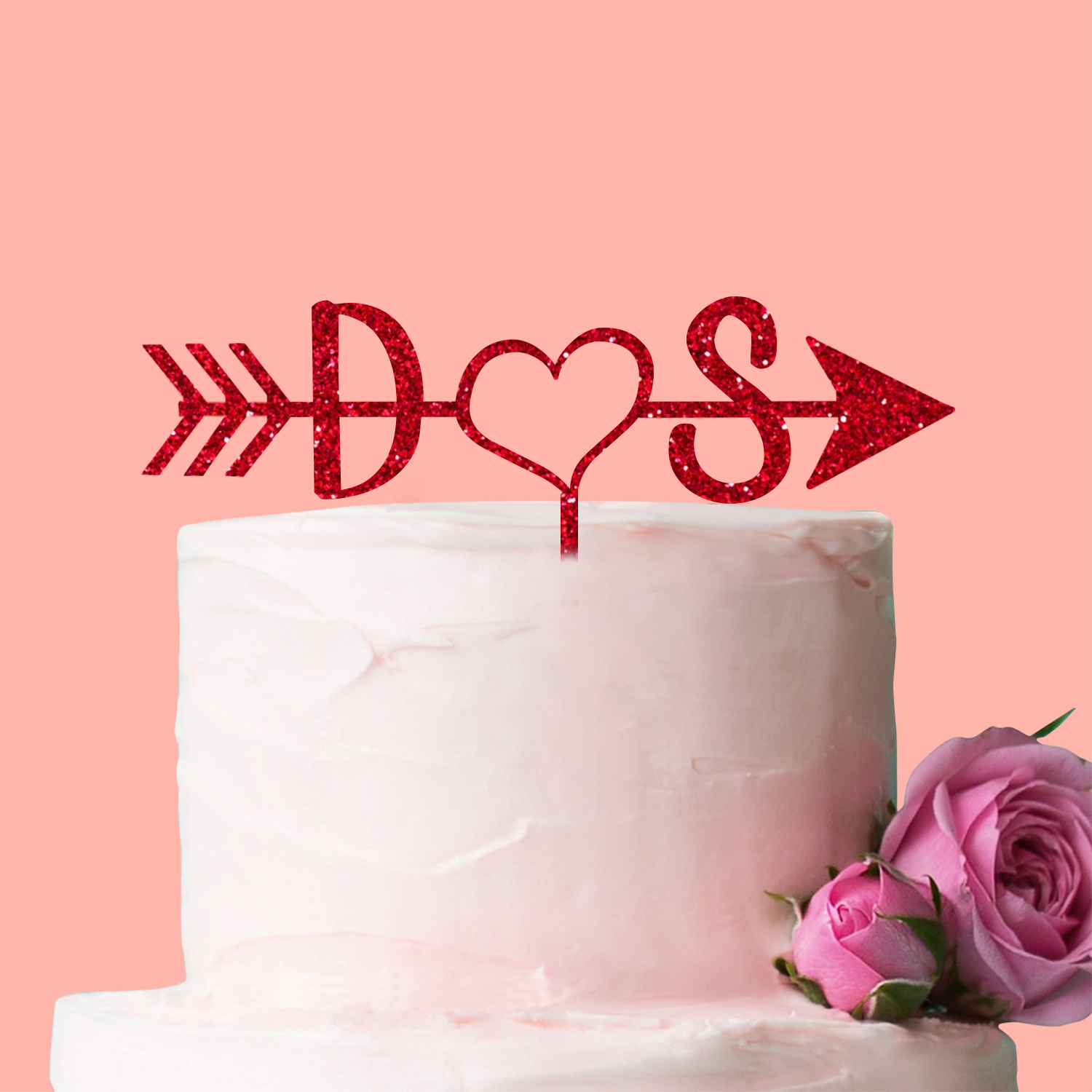Personalised Initials Heart Arrow Cake Topper Wedding Anniversary ...