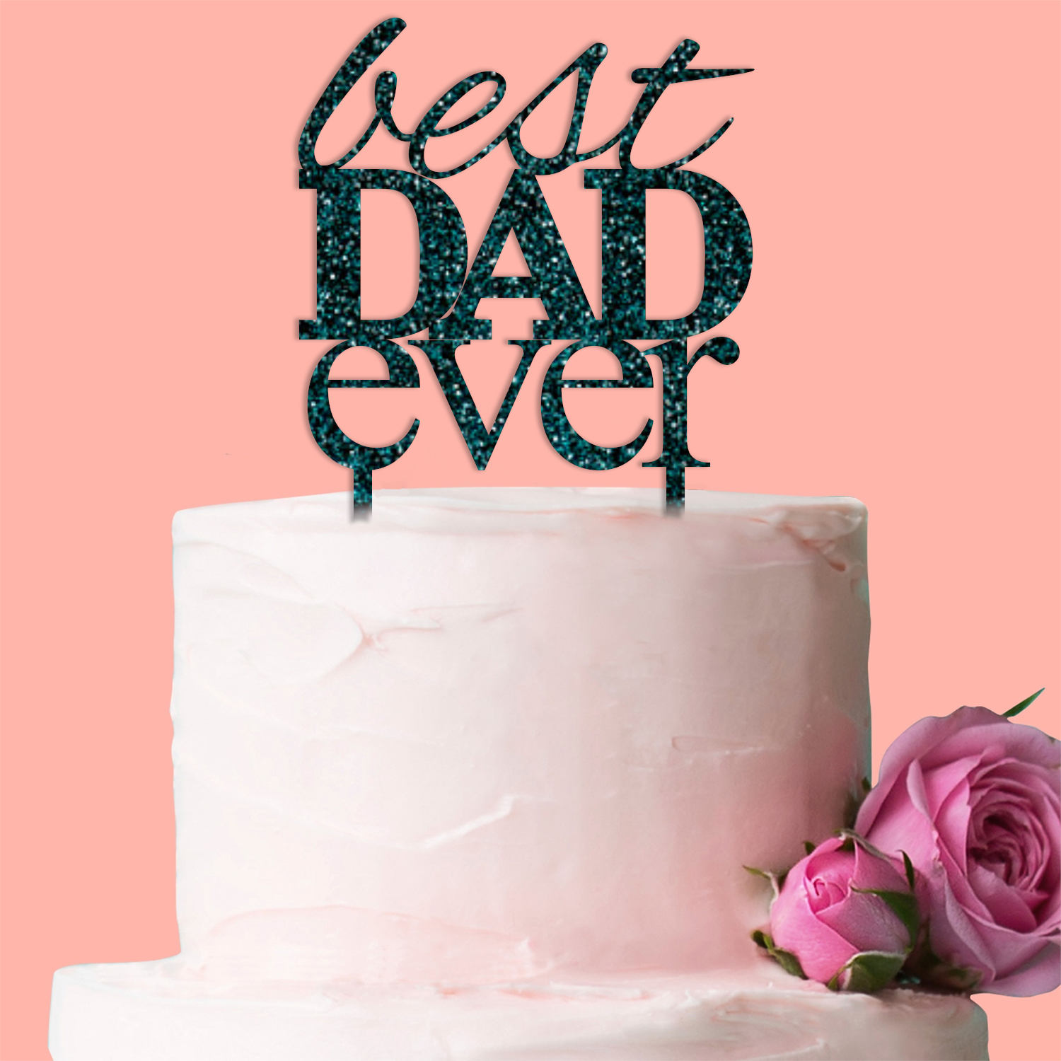 Best Dad Ever Cake Topper Birthday Fathers Day Decoration Gift