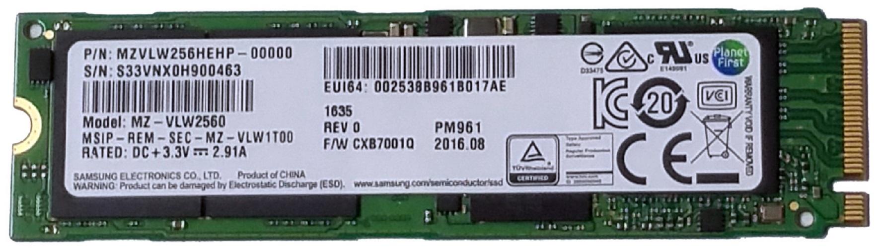 Samsung Pm961 256gb M2 Ngff Pcie Gen3 X4 Nvme Solid State Drive Sm961 2280 Ssd 1tb Oem