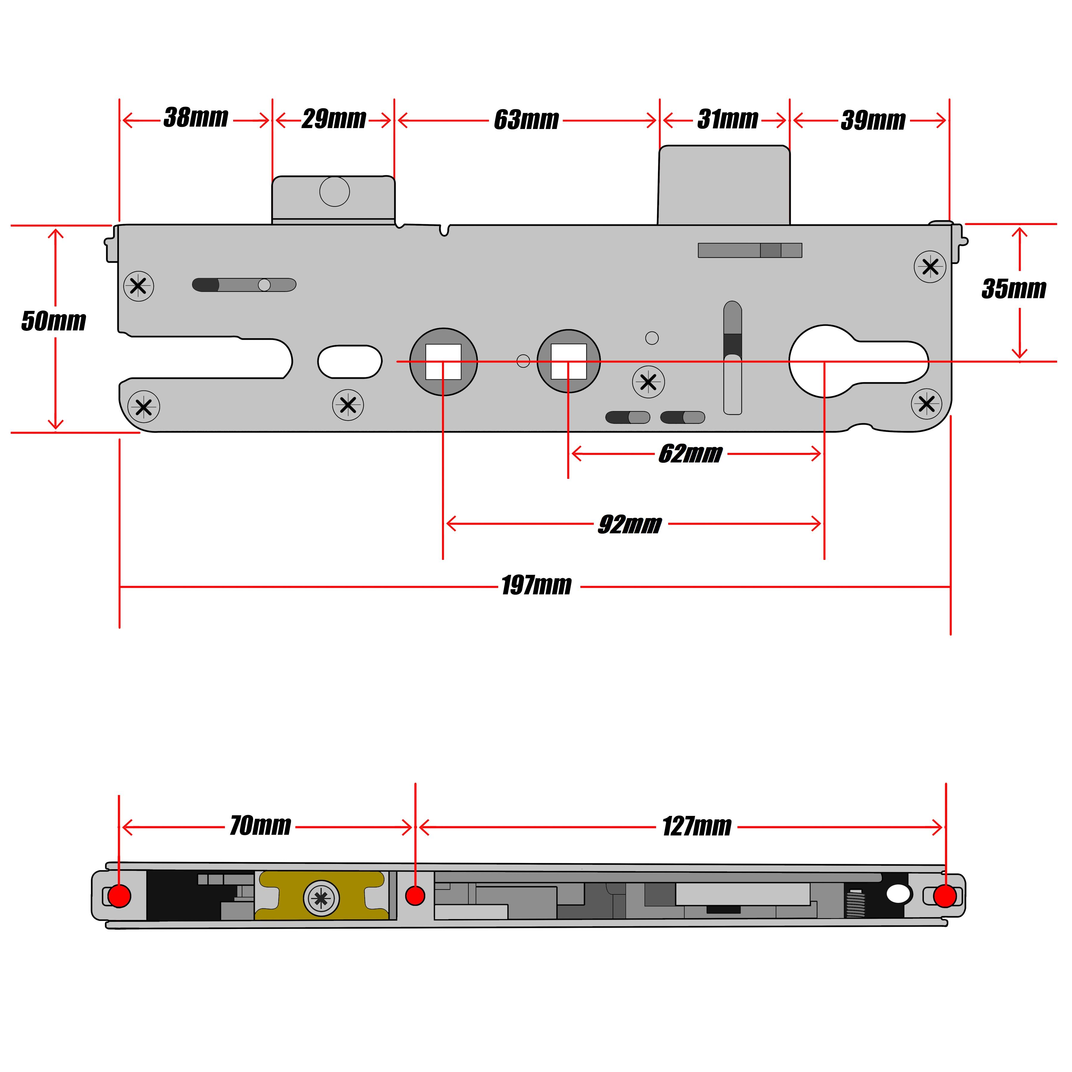 Roto Replacement Upvc Gear Box Door Lock Centre Case 35mm