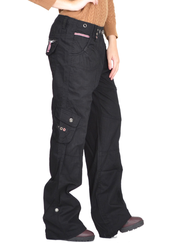 New Ladies Womens Baggy Loose Cargo Pants Wide Boyfriend ...