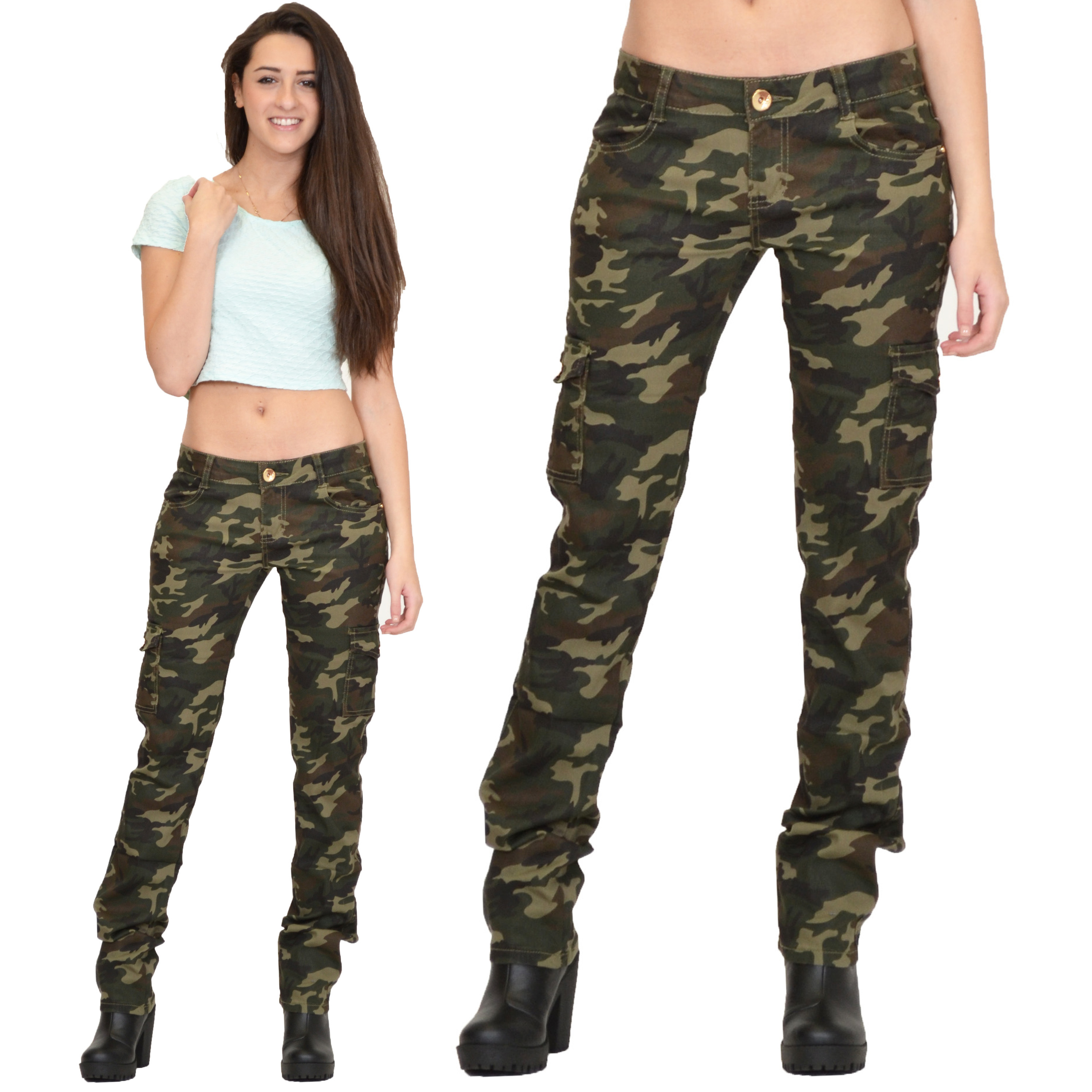 Womens Army Military Green Camouflage Slim Fit Combat ...