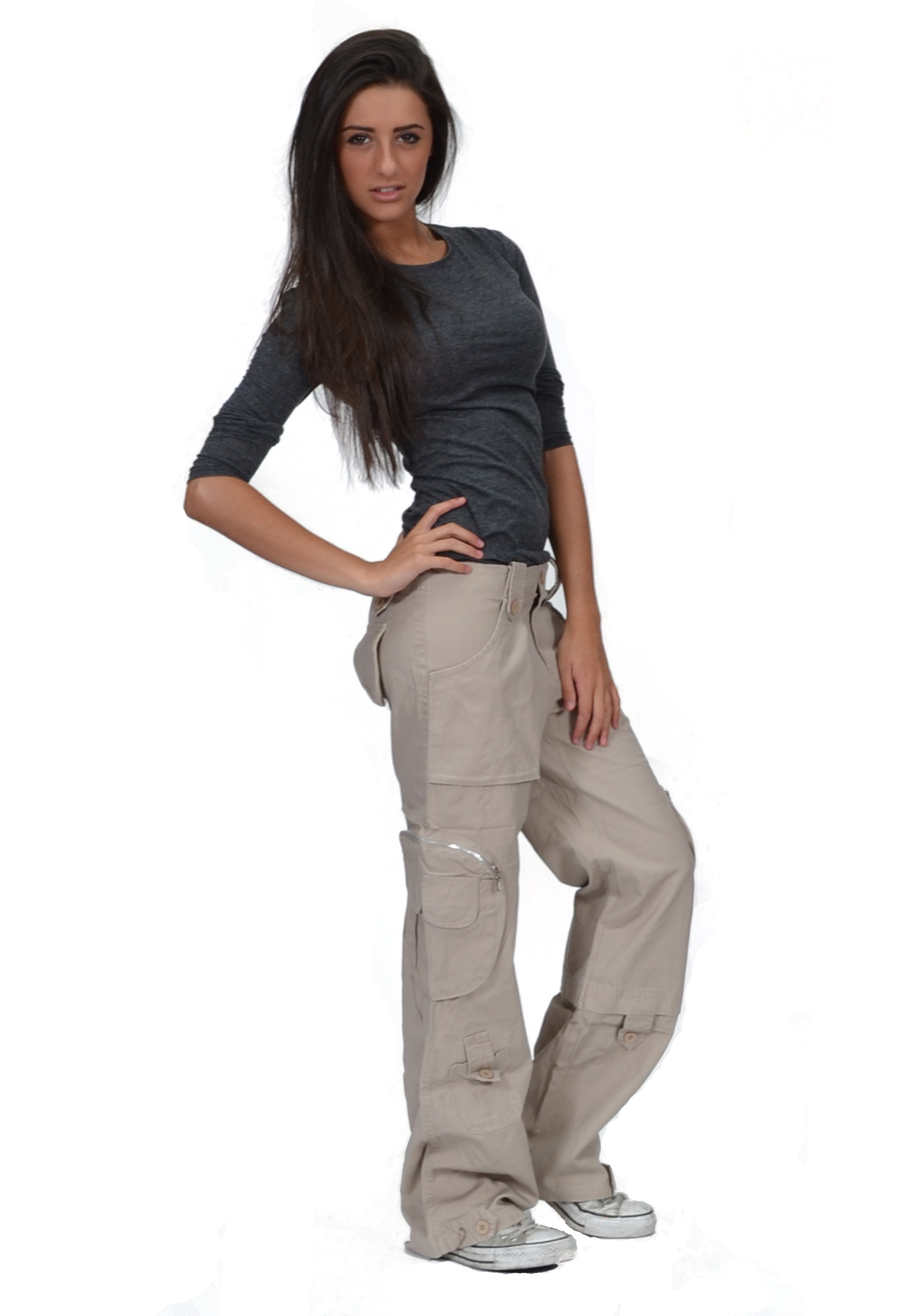 New Ladies Womens Beige Wide Loose Cargo Combat Trousers ... - photo#24