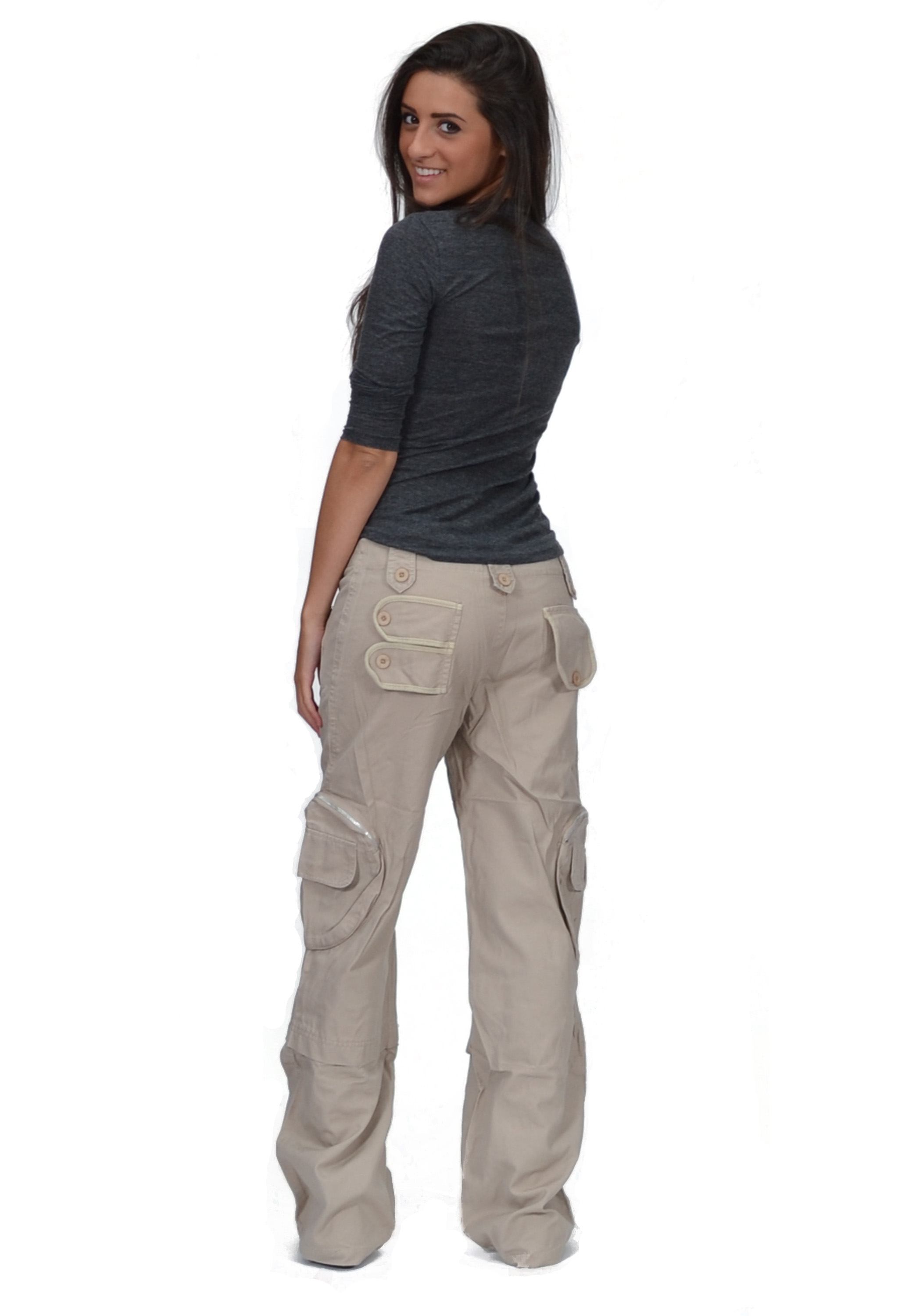 New Ladies Womens Beige Wide Loose Cargo Combat Trousers ... - photo#36