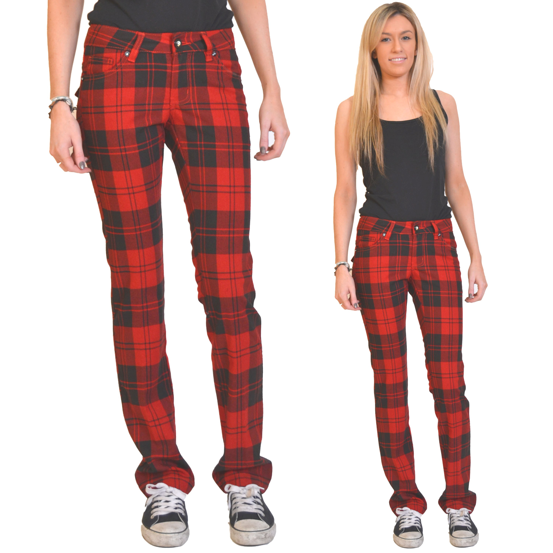 Ladies womens red & black tartan pants red plaid punk ...