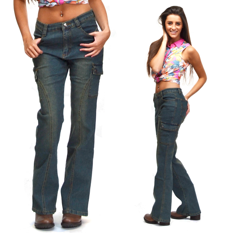 New Womens Blue Vintage Wash Combat Jeans Cargo Pants ... - photo#16