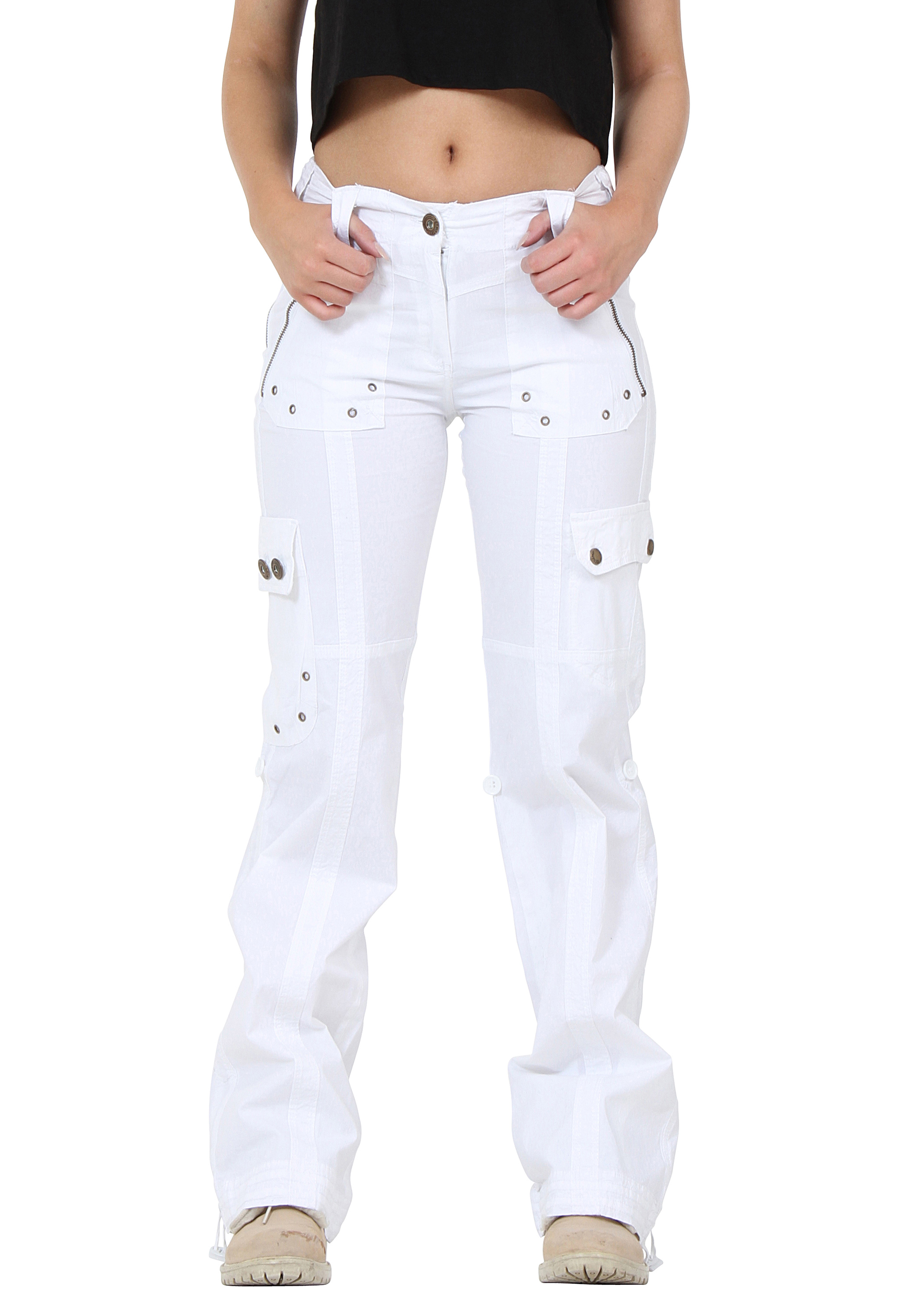 white cargo pants new womens white wide leg lightweight cargo 28642