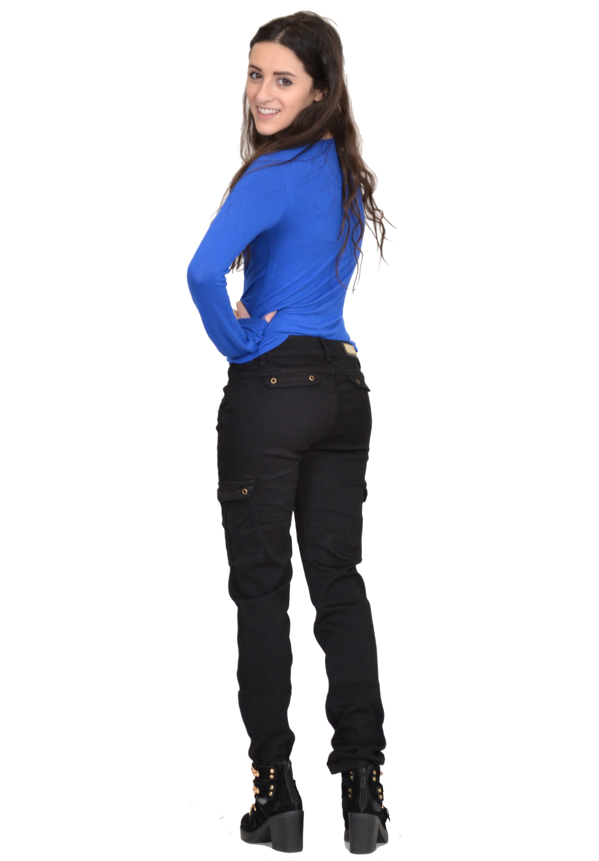 Vangull Black High Waist Cargo Pants Women Pockets ...  |Black Cargo Pants For Girls