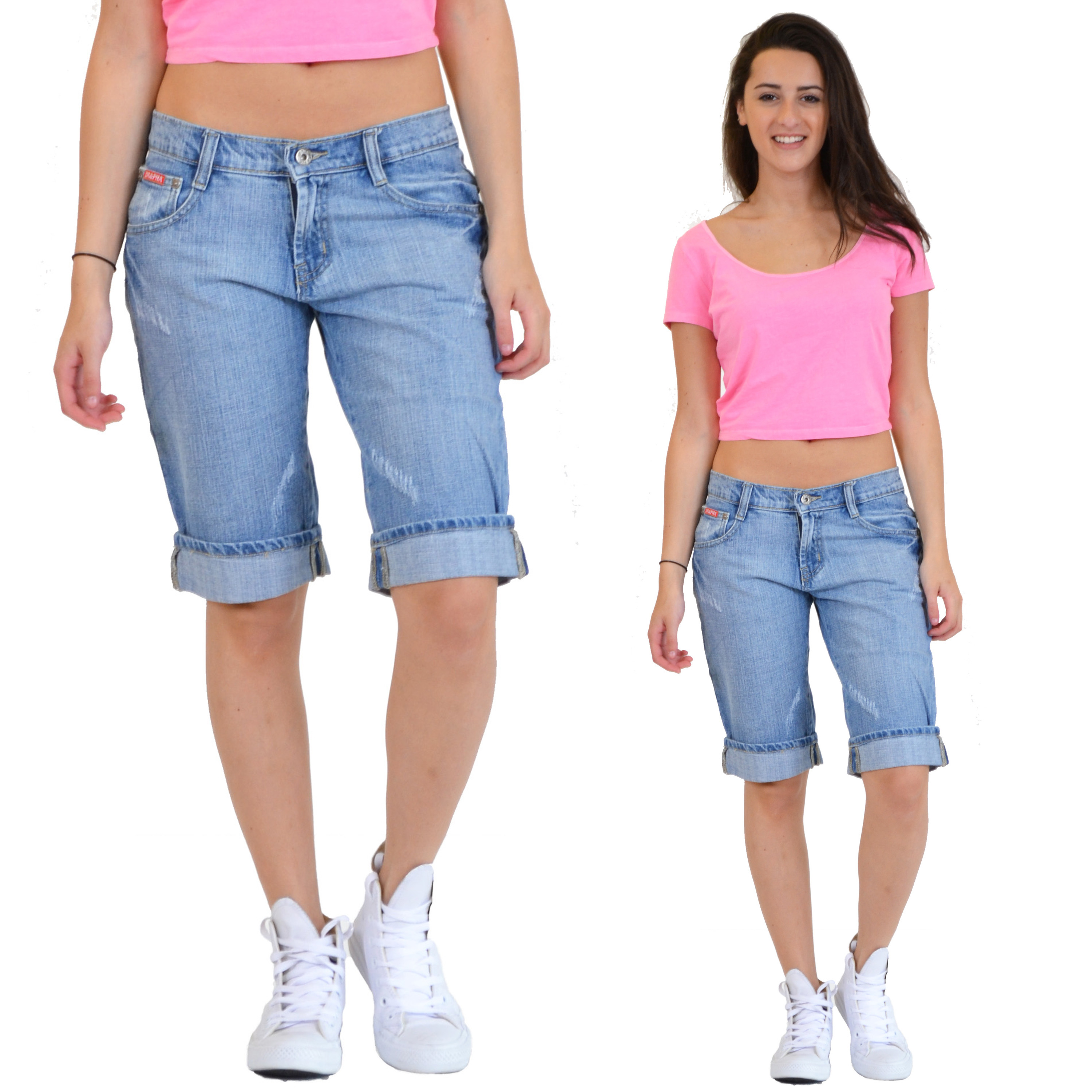 new womens light blue faded distressed long denim shorts capri 3 4 length jeans ebay. Black Bedroom Furniture Sets. Home Design Ideas