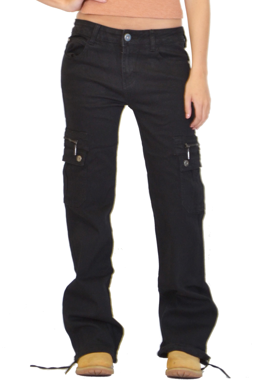 new womens ladies wide loose denim combat trousers cargo jeans boyfriend pants ebay. Black Bedroom Furniture Sets. Home Design Ideas