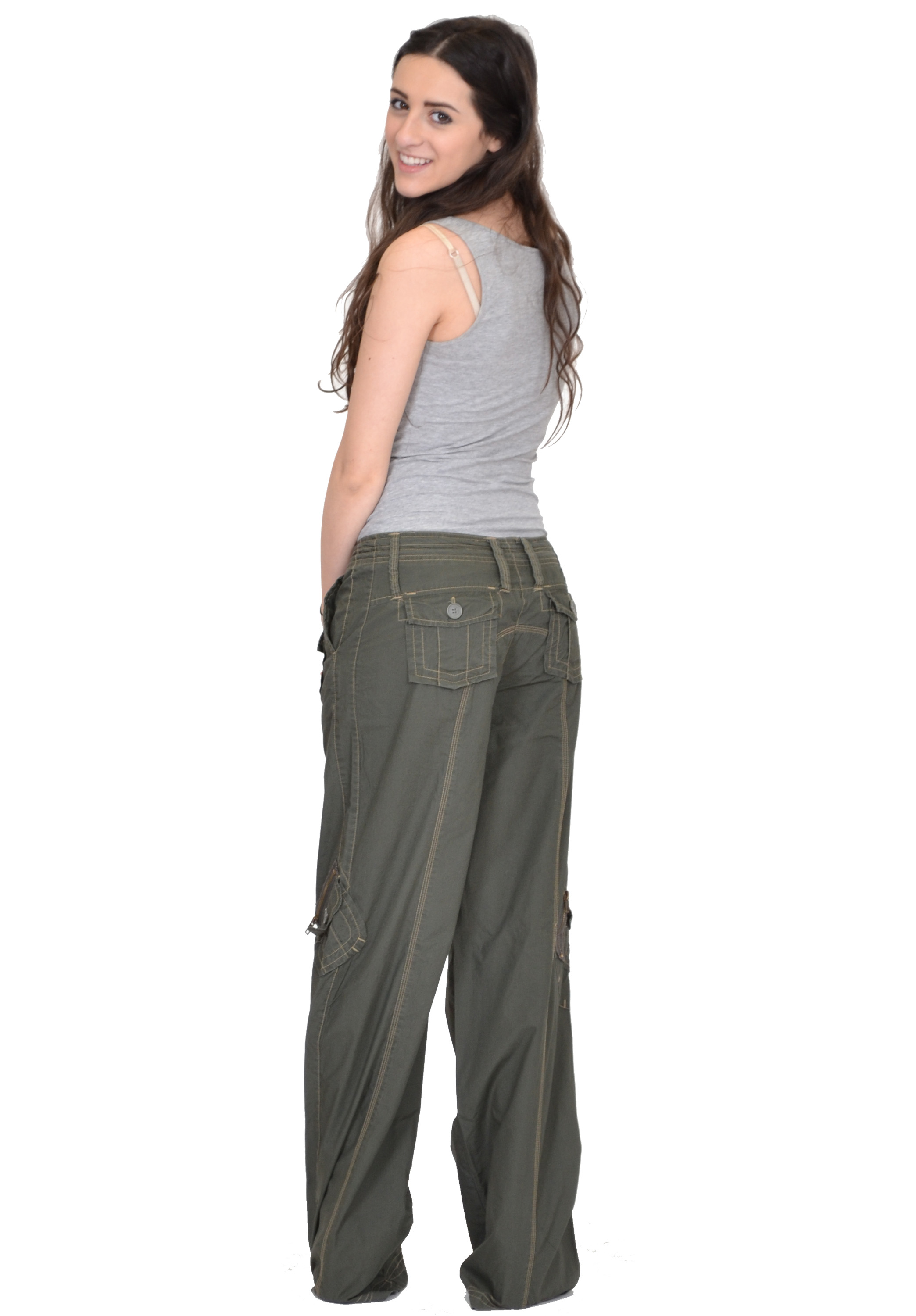 New Ladies Womens Baggy Wide Leg Loose Lightweight Combat ...