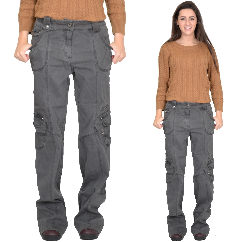 Ladies Womens Grey Baggy Loose Cargo Pants Wide Boyfriend ...
