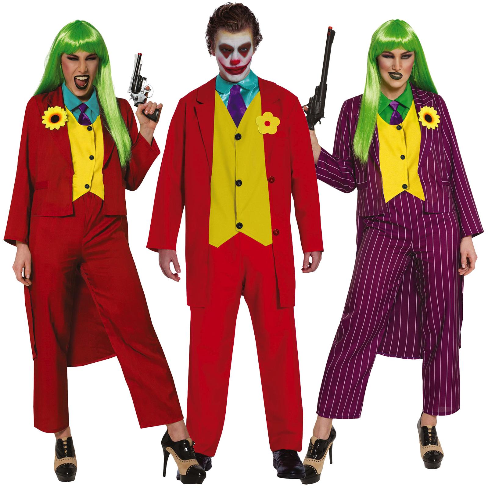 Mens Mr Smile Joker Movie Villain Fancy Dress Costume Halloween Outfit