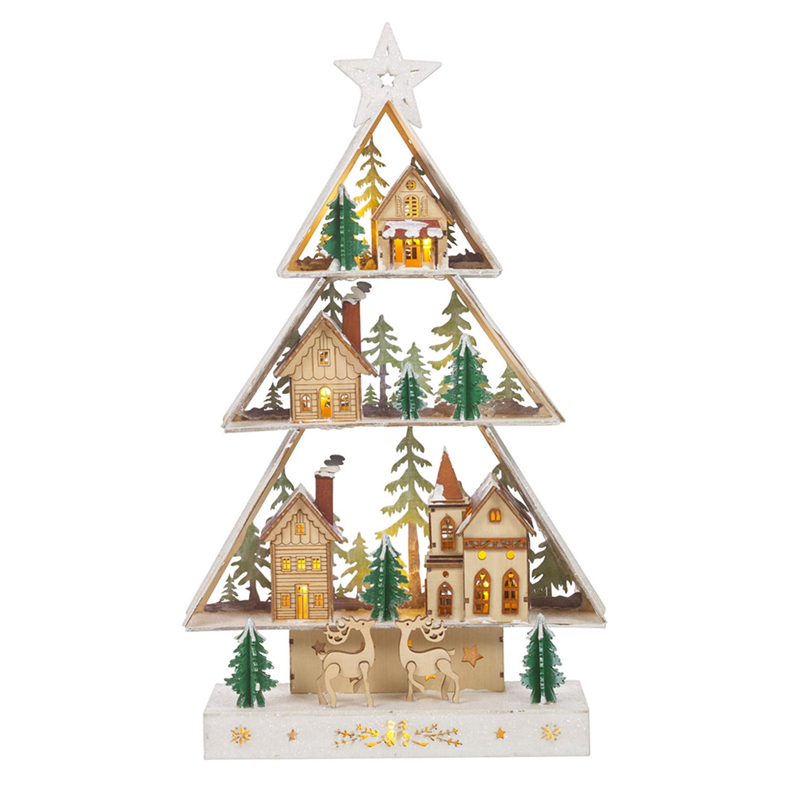 Warm White Wooden Light Up Christmas Tree Decoration Village Scene Ornament Xmas Ebay