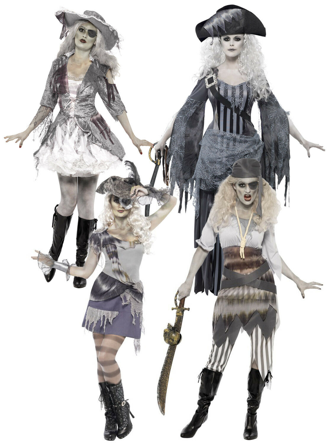 Ladies Ghost Ship Pirate Halloween Zombie Ghoul Fancy Dress Costume Outfit 8-22