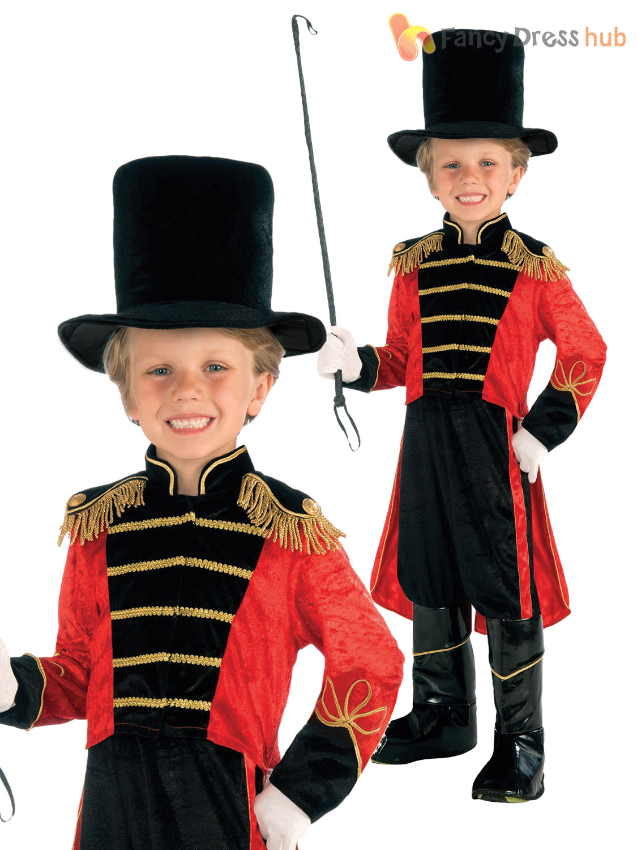 thumbnail 4 - Boys Ringmaster Fancy Dress Costume Greatest Showman Fancy Dress Circus Lion