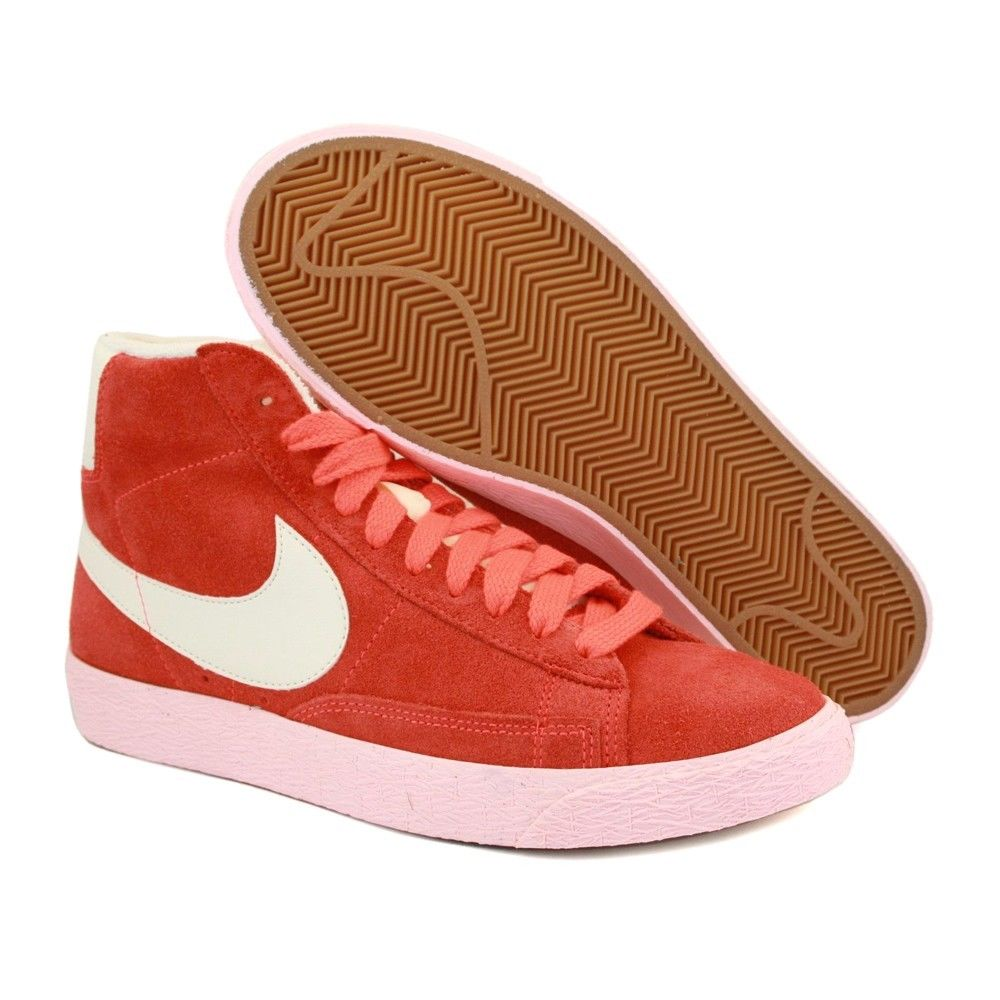 Nike Womens Blazer Mid Laced Laced Laced Suede Vintage 518171 Trainers Lime Red a21350