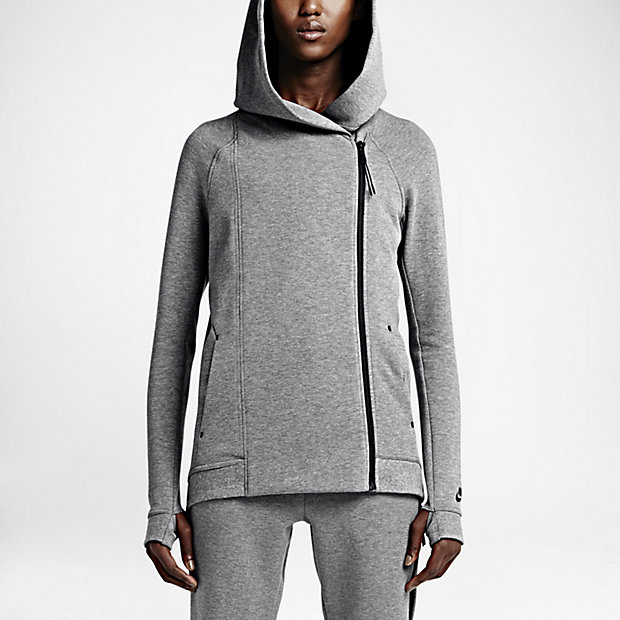 21f8a5b2 Details about Nike Women's Tech Fleece Cape Running Full Zip Grey Hood  Hoodie with Storm Cuffs