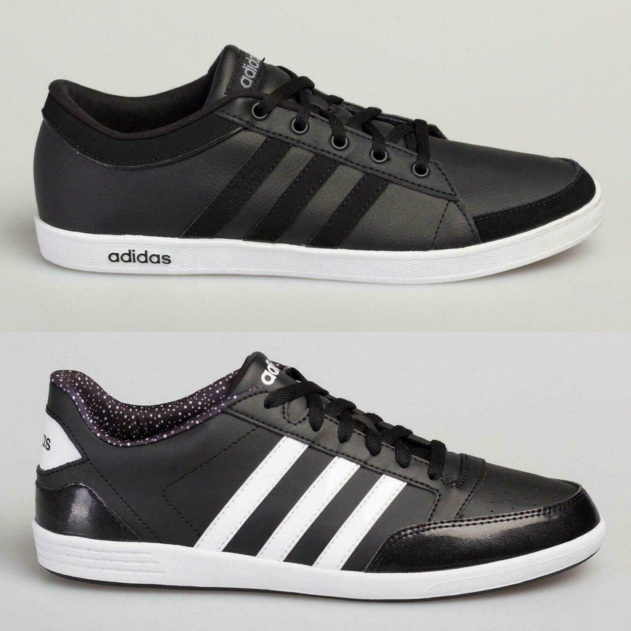 Details about Adidas Men's Women's Leather Trainers Calneo Lite Racer Hoops VL Black White