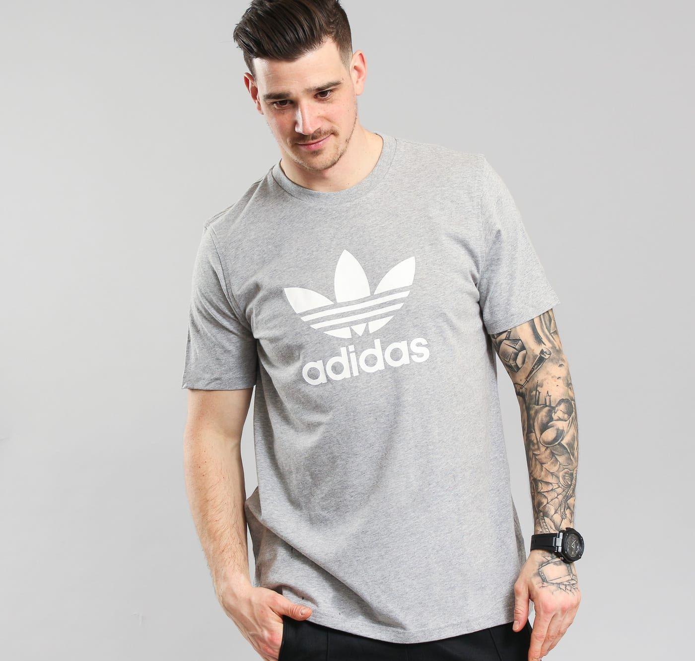 Details about Adidas Originals Men's Short Sleeve Grey Heather Trefoil T Shirt S M L XL XXL