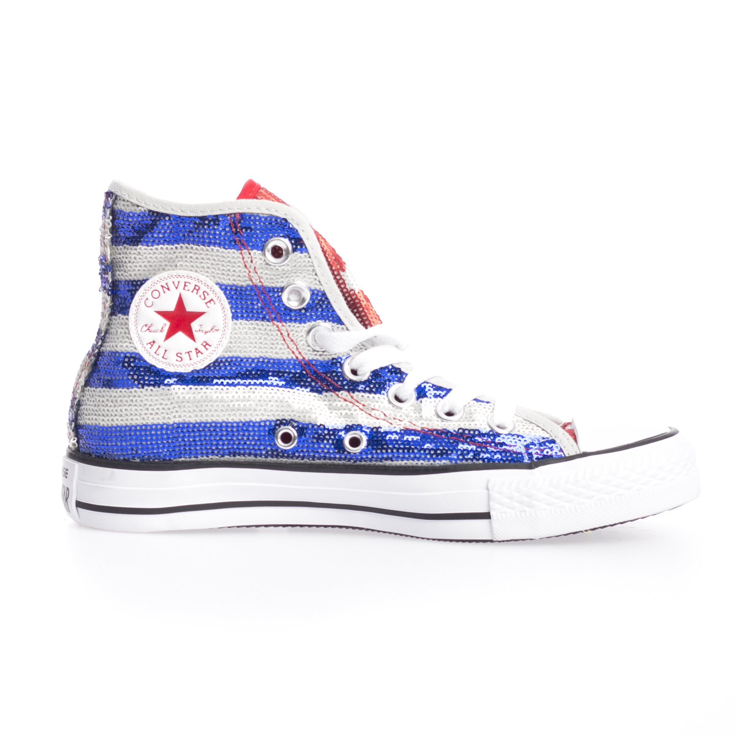 Details about Converse Womens Chuck Taylor Hi Top American Flag Sequin Lace Up Trainers