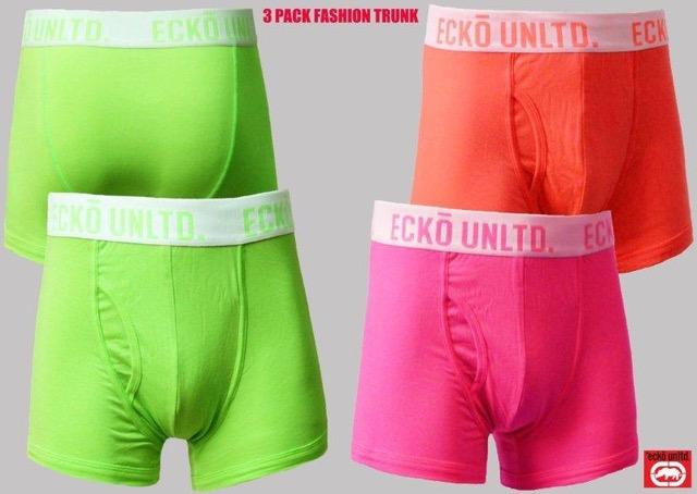 Ecko Unltd Boxers Trunks Mens Shorts 3 Pack Multi Colours Black Grey Navy