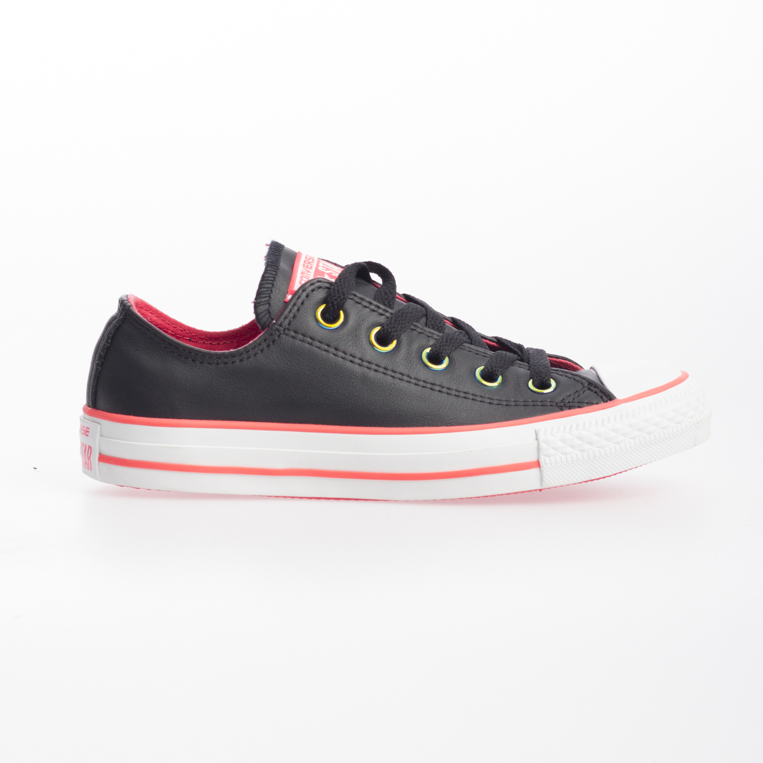 797a829d673 Details zu Converse Chuck Taylor All Star Ox Luster Black Lace Up Trainers  Pink Detail