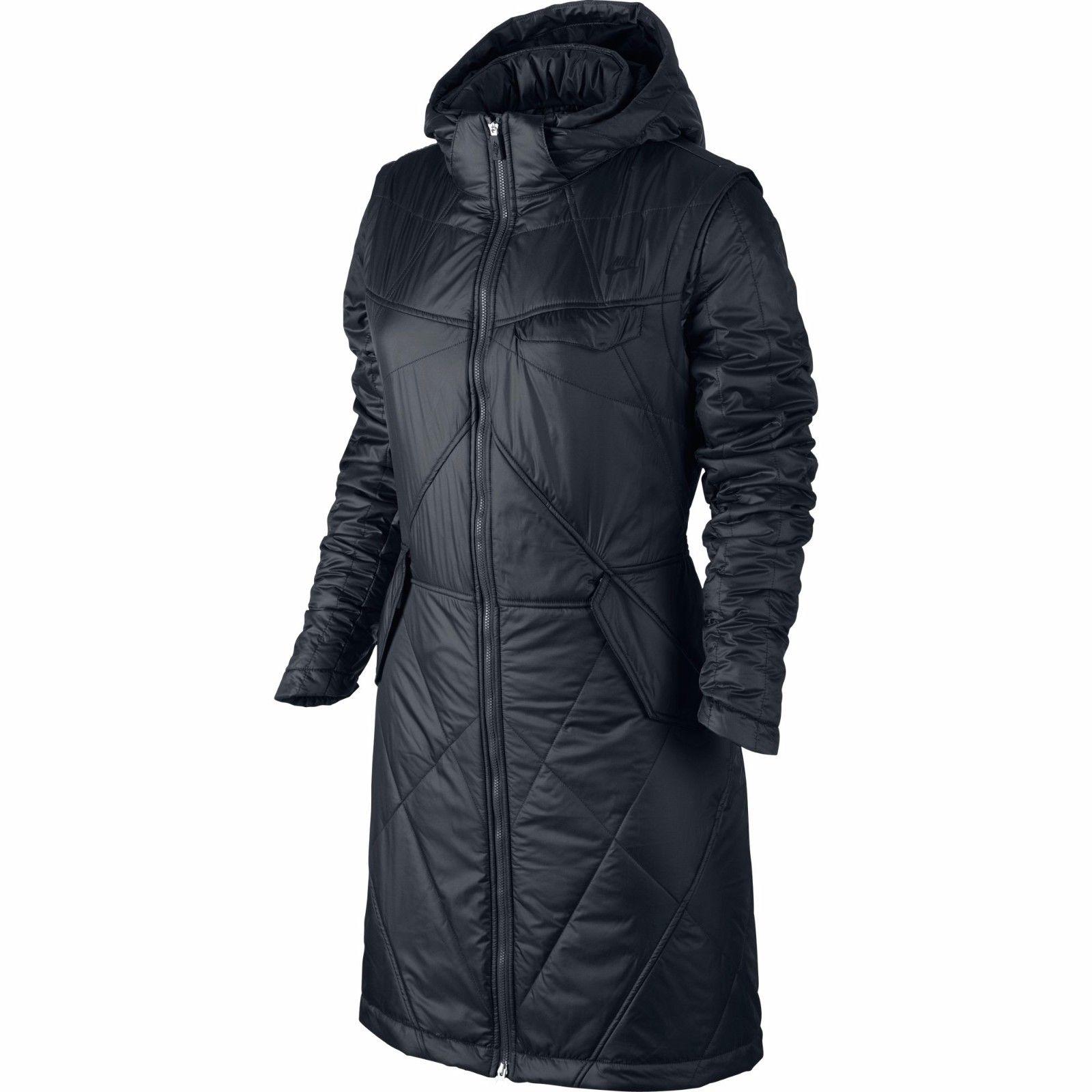 fcd63e923992 Details about Nike Field Long Padded Jacket Women s Full Zip Black Winter  Hooded Coat