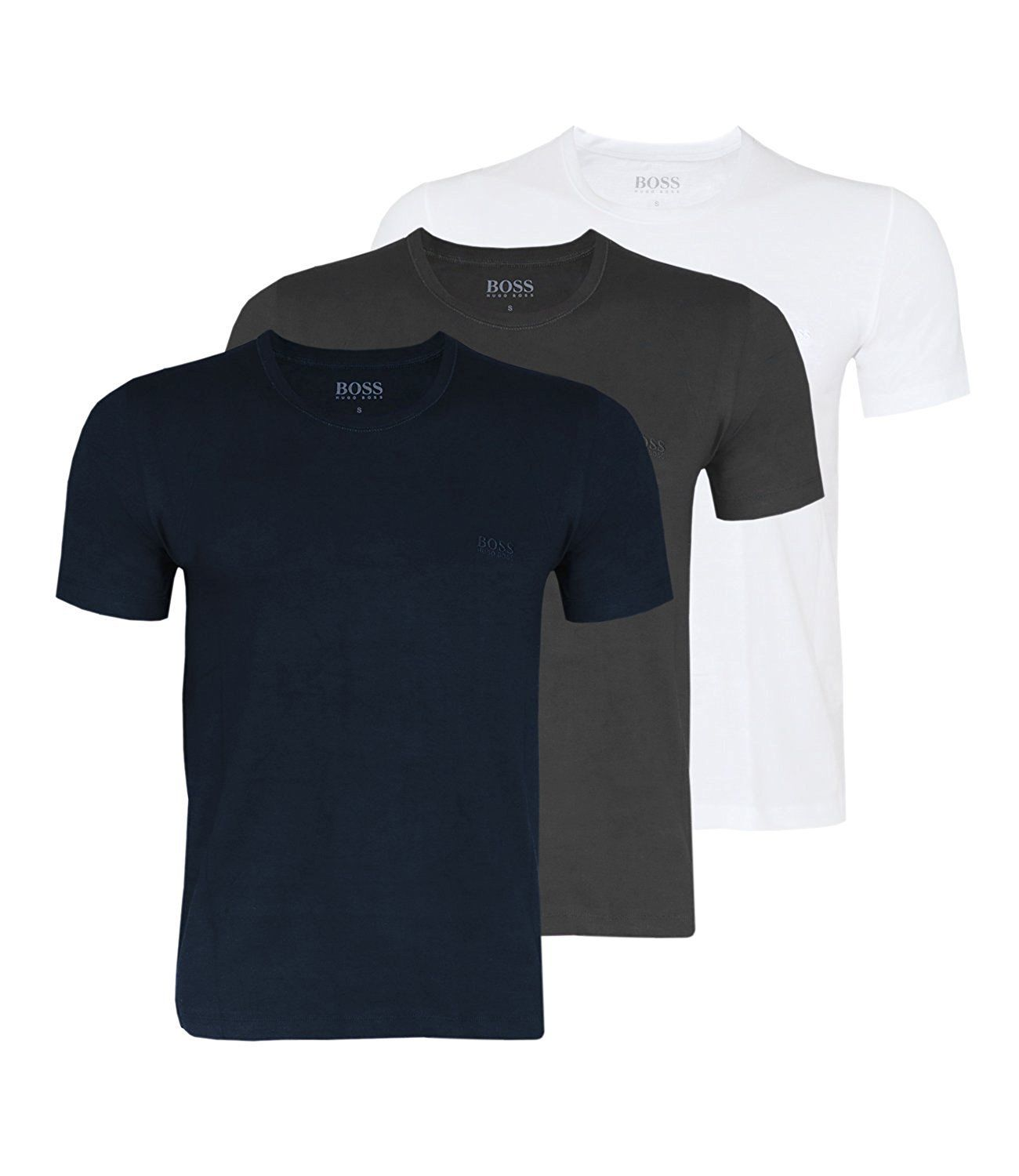 551d57f80 Details about Hugo Boss Men's Crew Neck T-Shirts Black Grey White Crew Neck 3  Pack Cotton