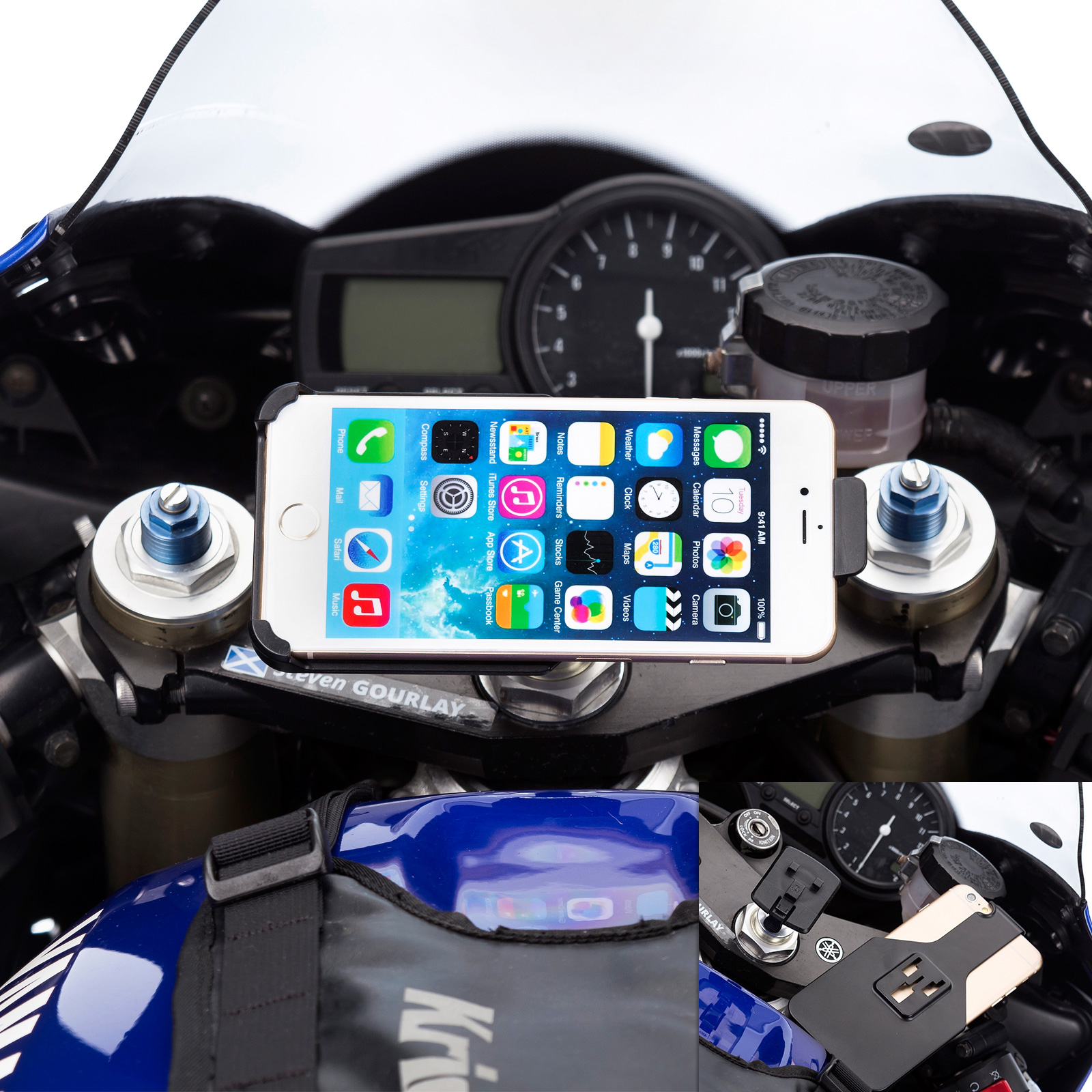 brand new 11f2e bf60e Details about Motorcycle Bike Fork Stem Mount + Dedicated Holder for iPhone  6 6s 7 8 Plus 5.5