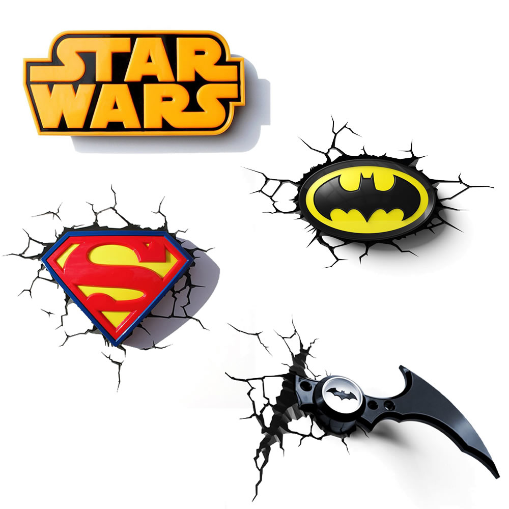 Childrens night lights 3d wall deco lighting superman batman star childrens night lights 3d wall deco lighting superman batman star wars mozeypictures Images