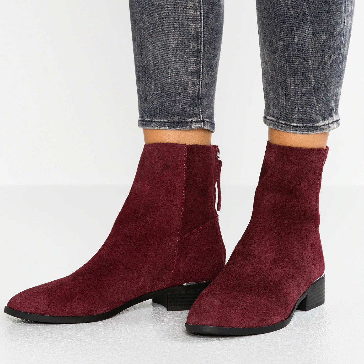 Topshop Leather Boots Burgundy