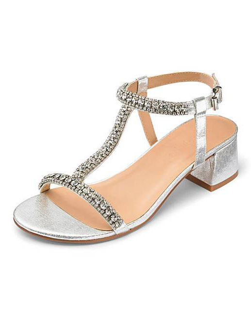 wide fitting silver evening shoes