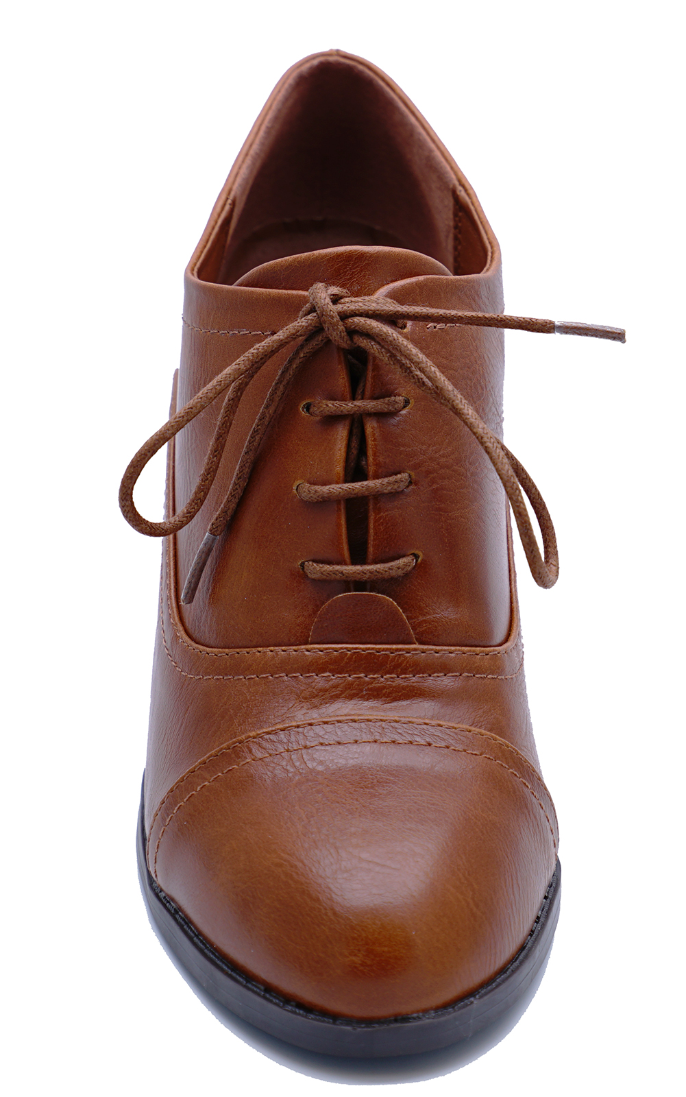 LADIES-BROWN-LACE-UP-BROGUE-ANKLE-BOOTS-SMART-WORK-COMFY-COURT-SHOES-SIZES-3-8 thumbnail 6