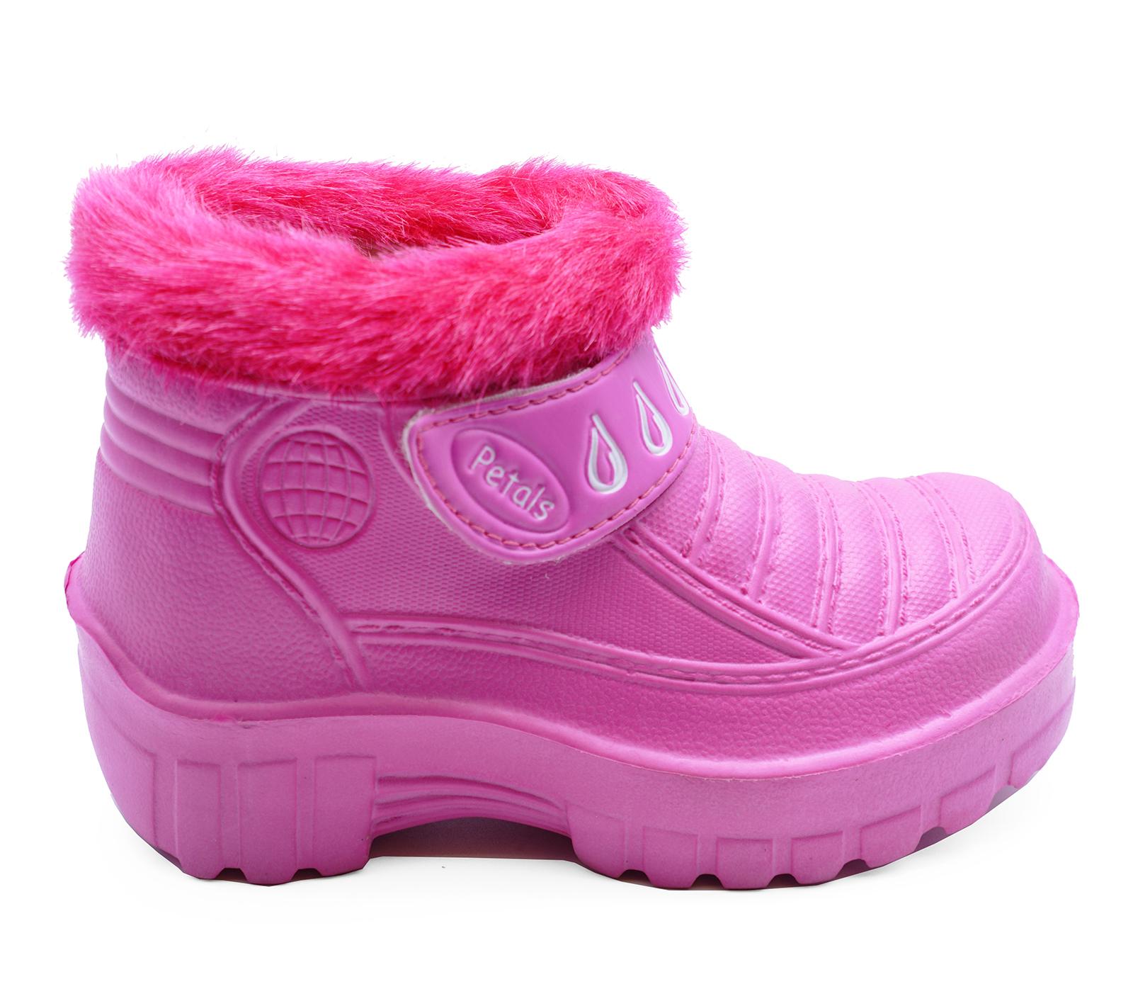 KIDS GIRLS CHILDRENS PINK EVA SPLASH SNOW FLAT RAIN ANKLE BOOTS SHOES SIZES 11-2