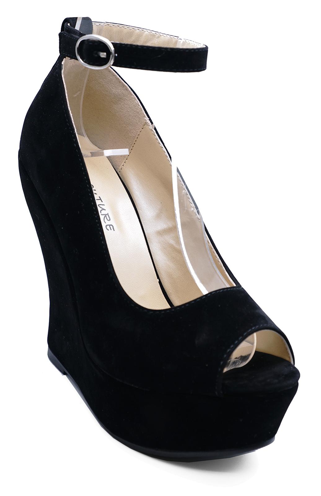LADIES-BLACK-OPEN-TOE-SLIP-ON-WEDGE-HIGH-HEEL-PLATFORM-COURT-SHOES-SIZES-3-7 thumbnail 6