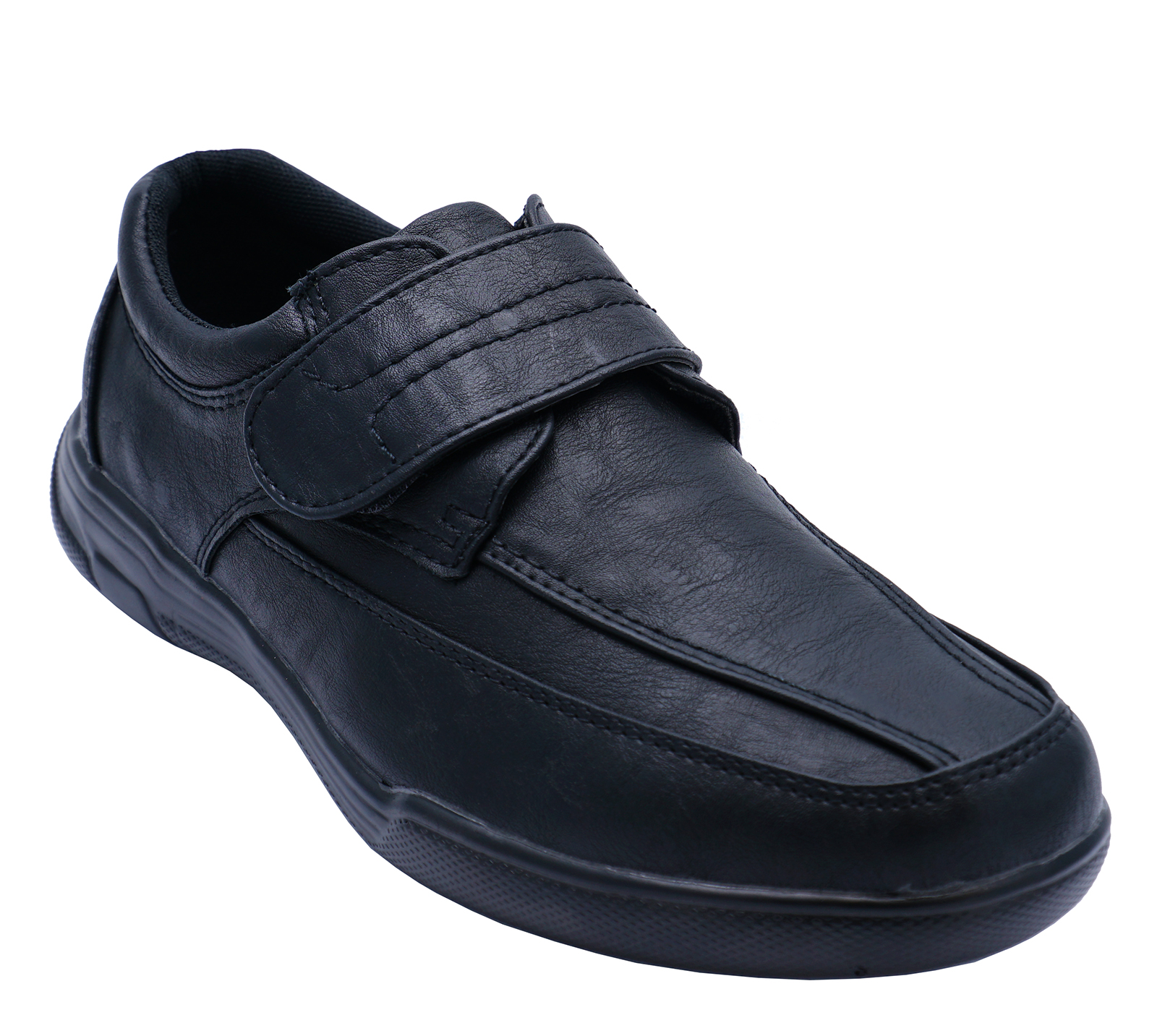 MENS-BLACK-TOUCH-STRAP-COMFY-LIGHTWEIGHT-SMART-CASUAL-LOAFERS-DECK-SHOES-6-12 thumbnail 6