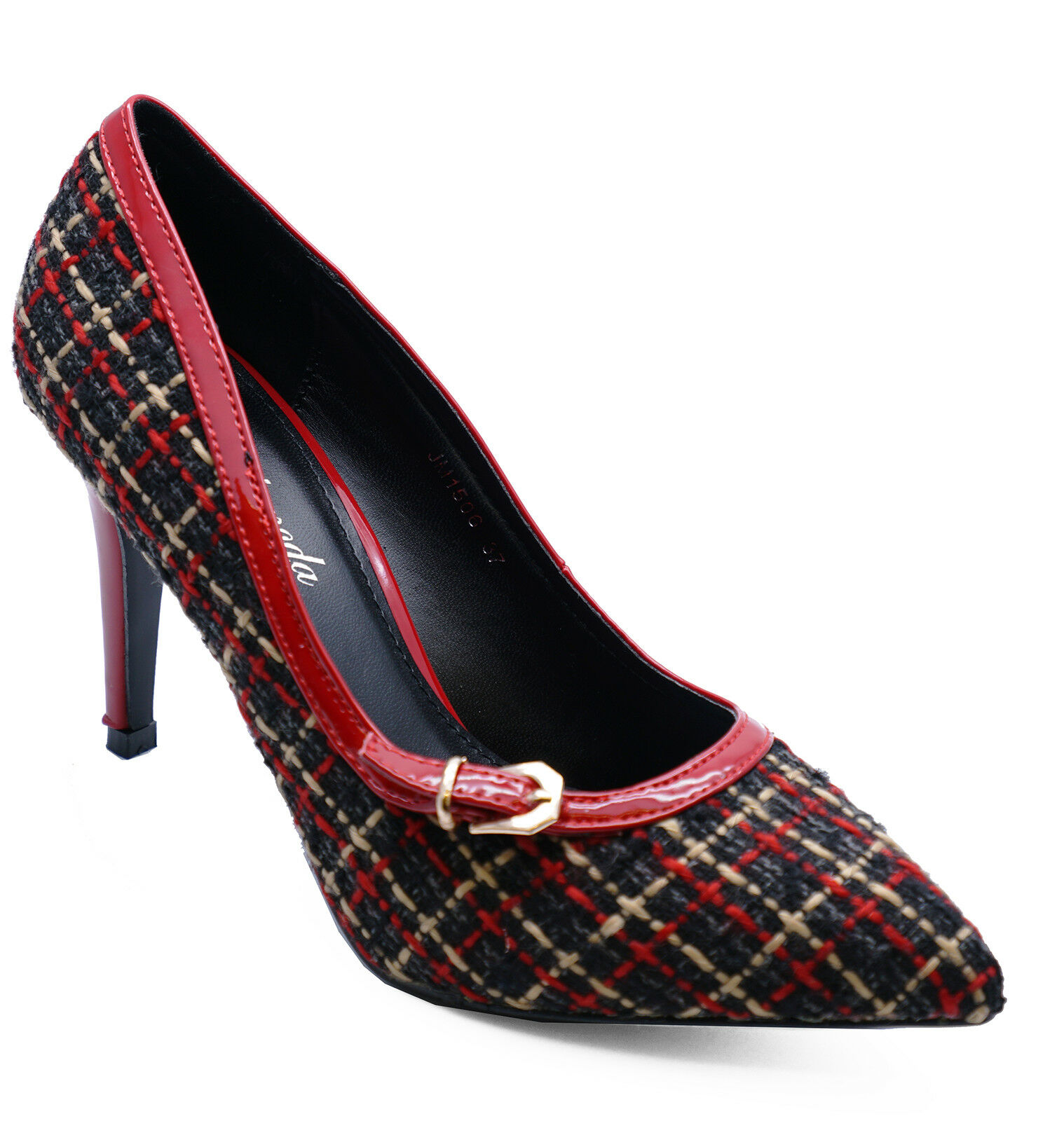 LADIES RED BLACK OR TEAL PLATFORM STILETTO WOMENS TWEED COURT SHOES SIZES 3-8