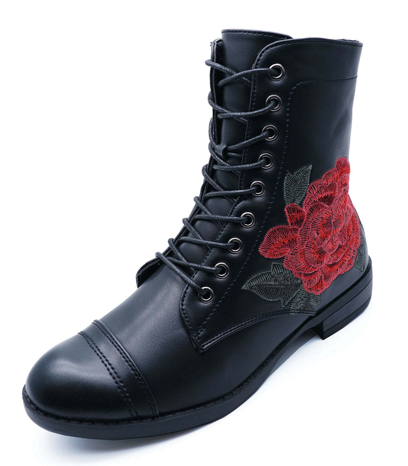 WOMENS BLACK LACE-UP ANKLE FLAT BIKER COMBAT CASUAL MILITARY BOOTS SHOES UK 3-9
