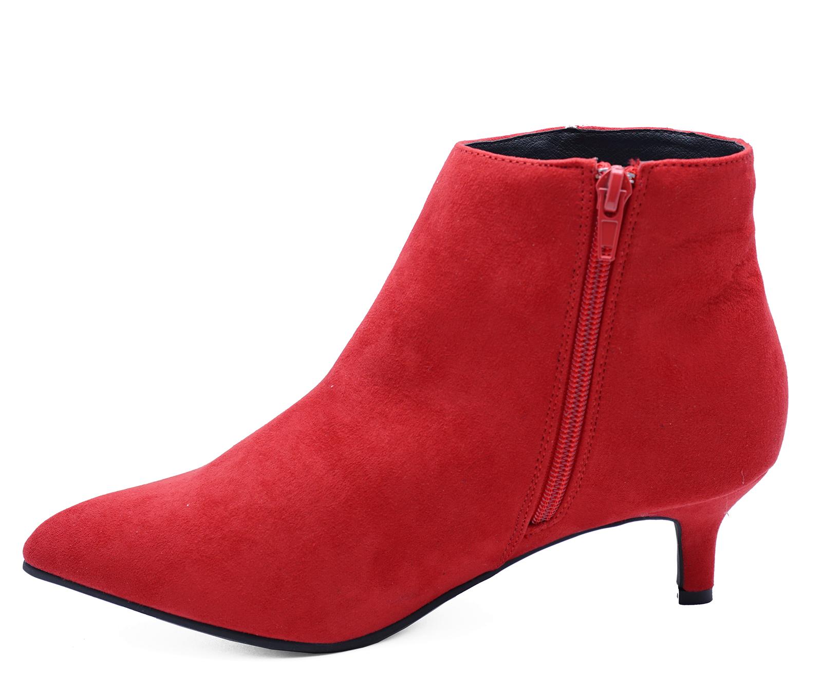 LADIES RED ZIP UP KITTEN LOW HEEL FAUX SUEDE ANKLE BOOTS