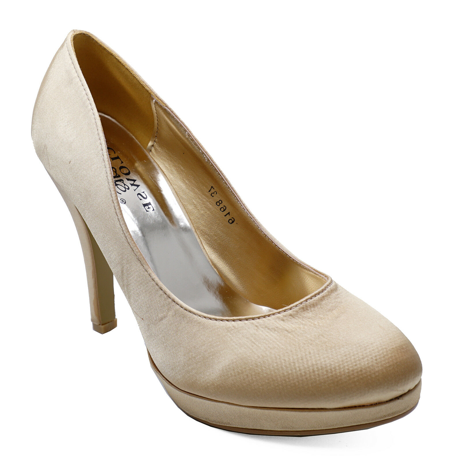 WOMENS DARK GOLD SATIN BRIDAL BRIDESMAID PROM WEDDING PARTY COURT SHOES SIZE 3-8