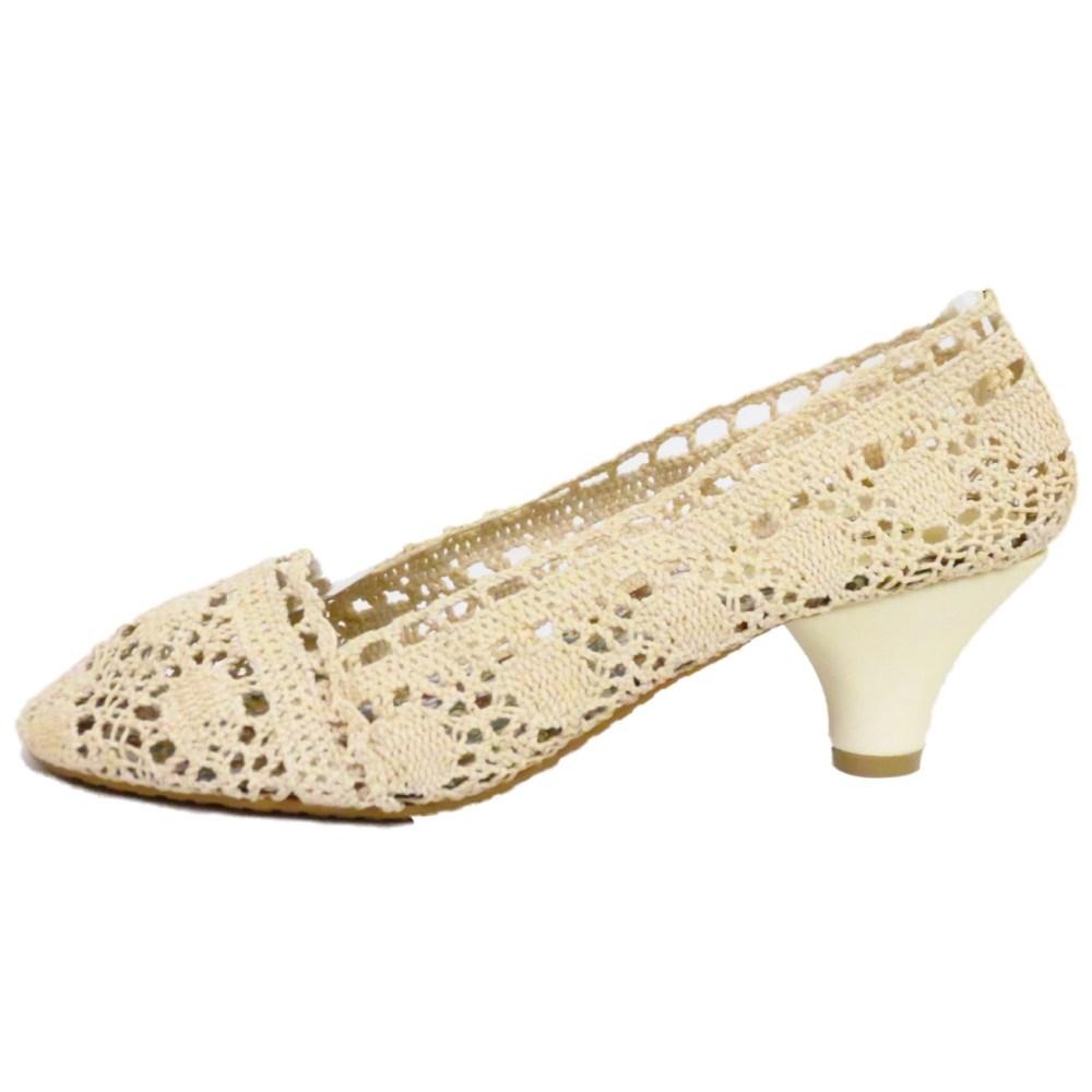 Kitten Heel Cream Shoes