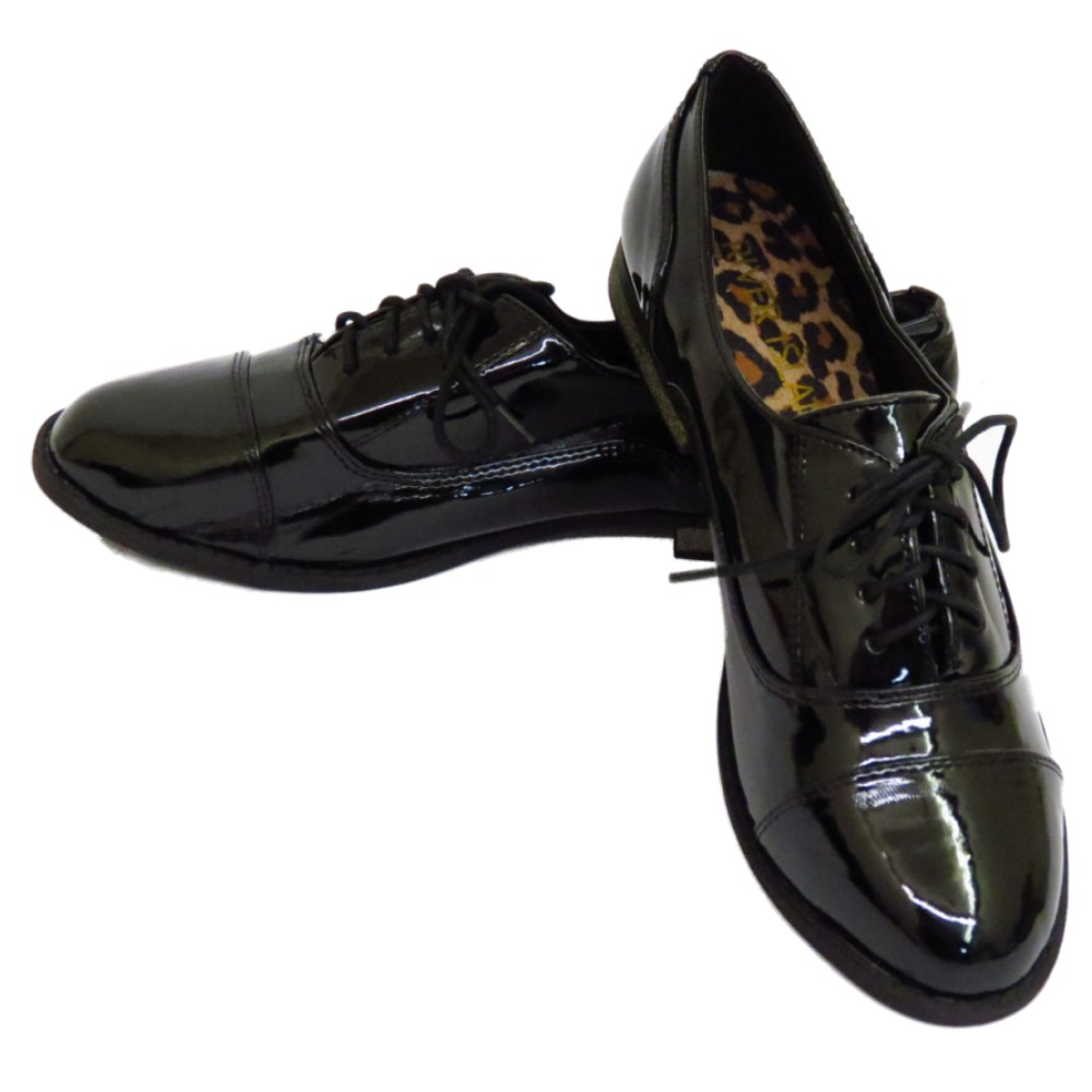 LADIES-GIRLS-PATENT-FLAT-BLACK-LACE-UP-OXFORD-BROGUE-WORK-SCHOOL-SHOES-SIZE-3-8 thumbnail 3
